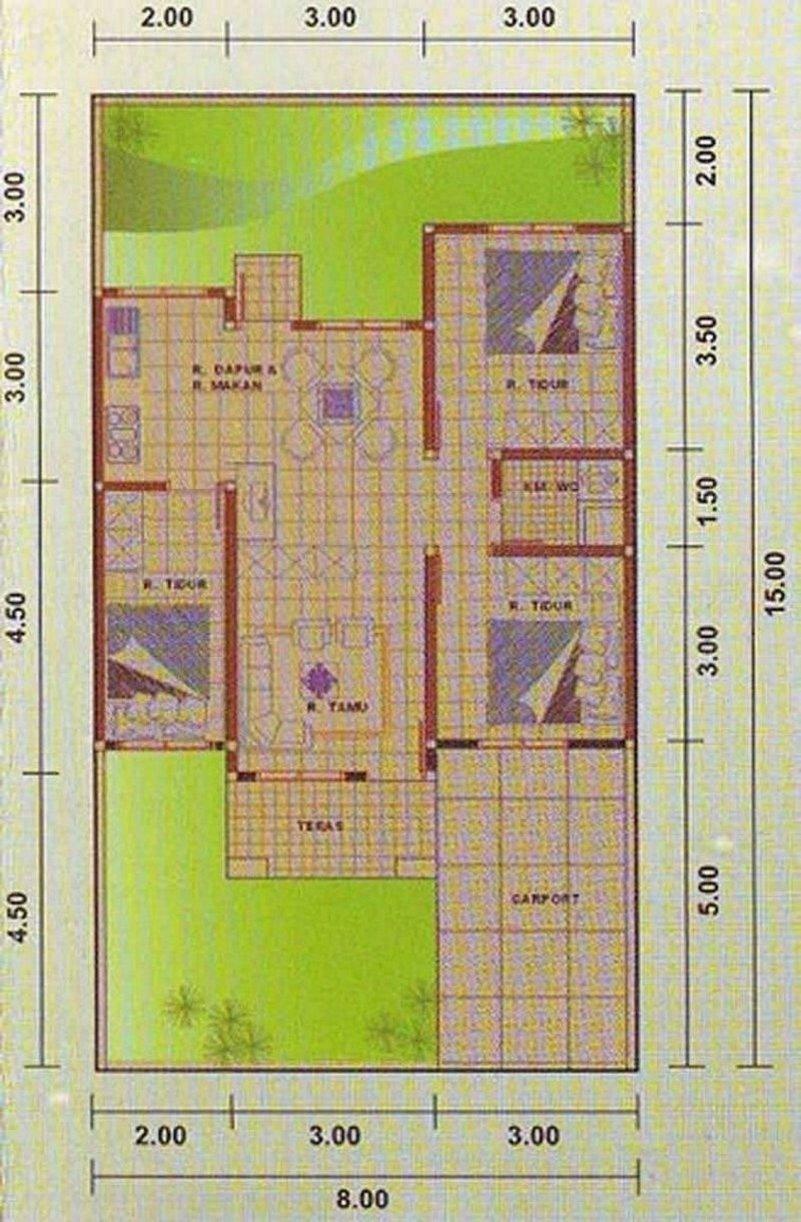 denah rumah 8x12 1 lantai kamar 3 1