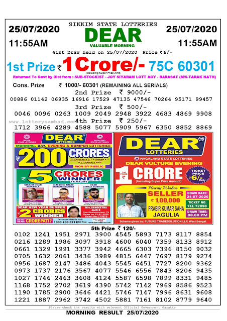 Sikkim State Lottery Sambad 25-07-2020 Today Result 11.55 AM