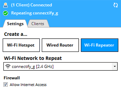REPEATER-MODE Connectify Hotspot 2017.4.0.38561 For PC Apps