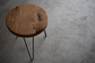 rustic wood table with hairpin legs