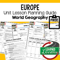 Europe geography lesson plans, world geography lesson plans, geography activities, world geography games, world geography middle school, world geography high school