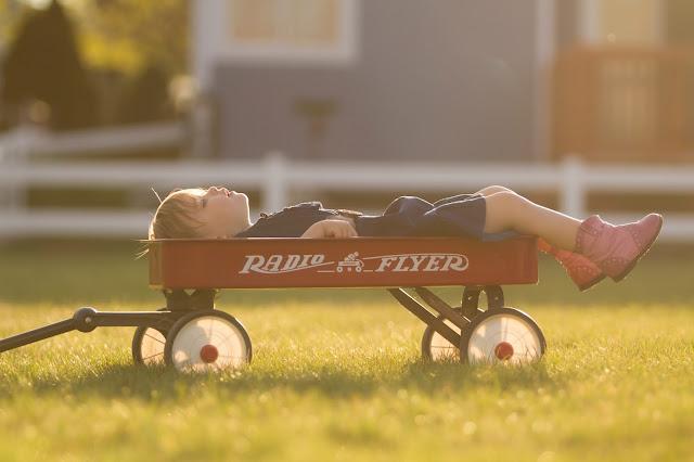 wózek, chłopiec, przyjemność