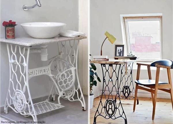 Mesa de despacho y lavabo reciclados con maquina de coser singer
