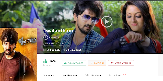 Jwalantham 2016 Kannada Full Movie Download 700mb 300MB