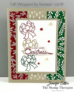 Gift Wrapped by Stampin' Up!® card!  I also used the Classic Christmas Designer Paper.  Details and link to video on blog.  #StampinUp #StampTherapist