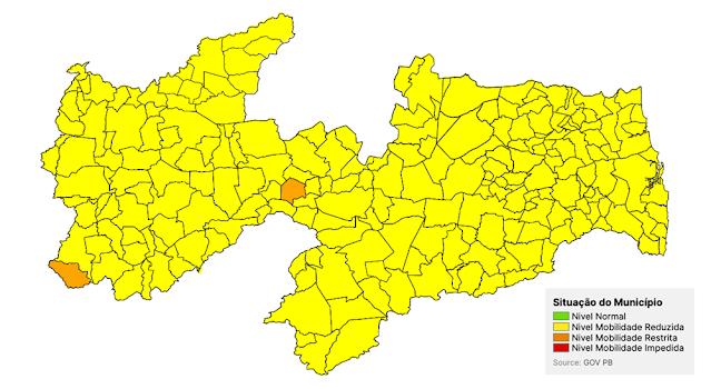 Plano Novo Normal: Duas cidades da Paraíba continuam em bandeira laranja. Uma delas na região de Patos