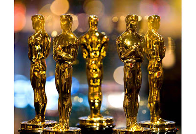 Oscar statuettes displayed at the Meet the Oscars exhibit in New York
