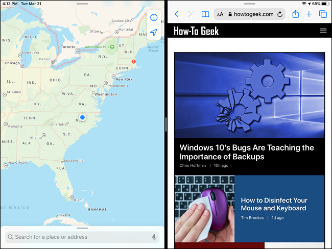 مثال على Split View على iPad