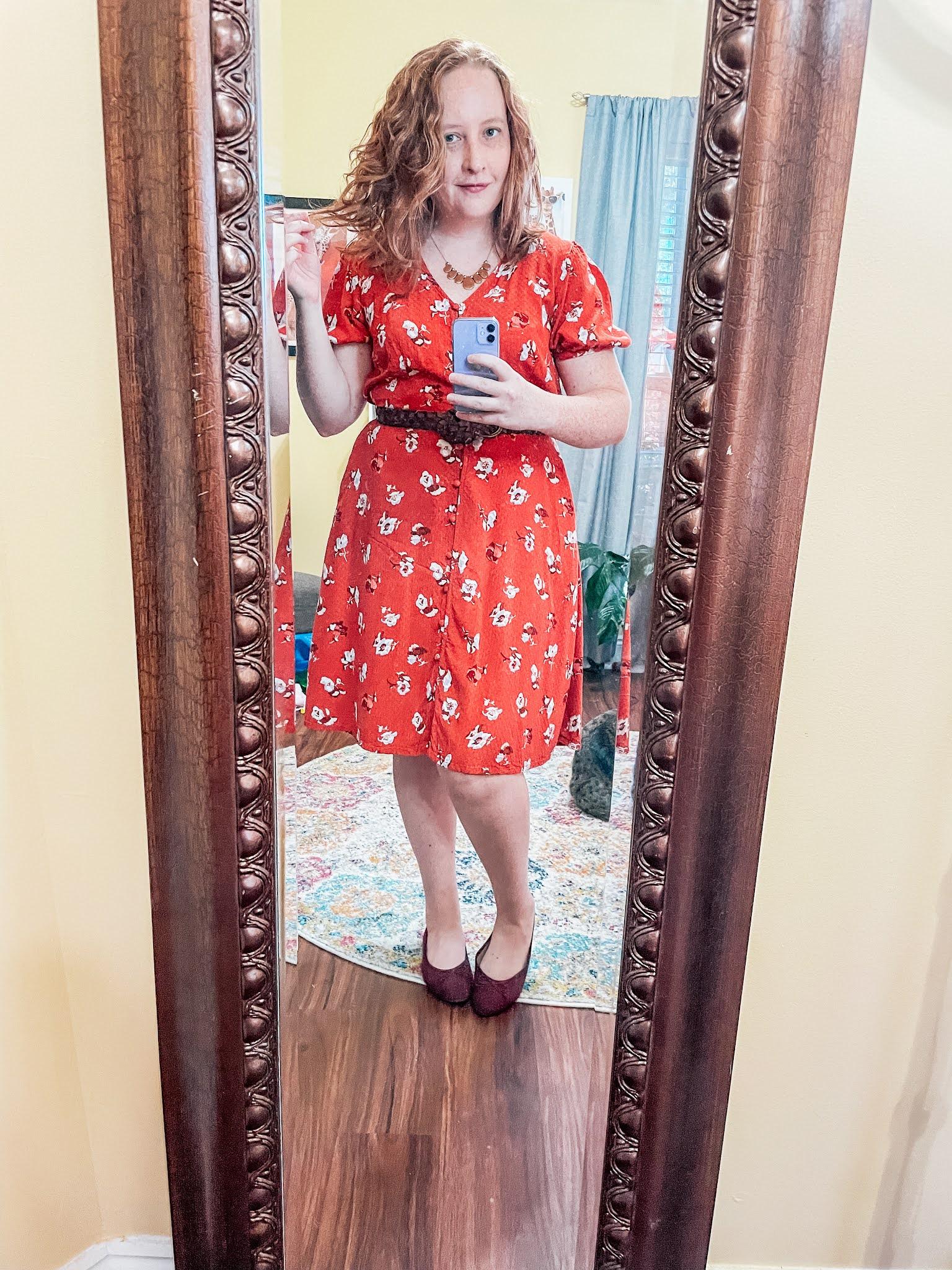 floral-puff-sleeve-dress-flats
