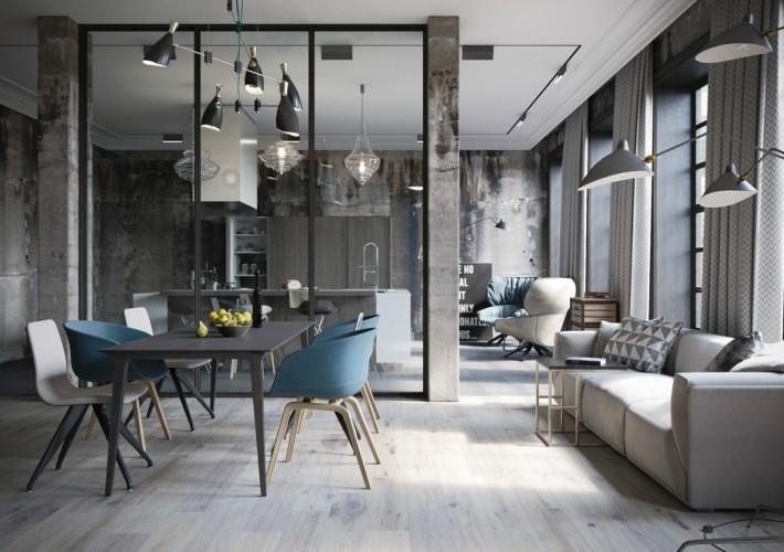 Proyecto 3D para un loft industrial