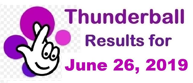 Thunderball results for Wednesday, June 26, 2019