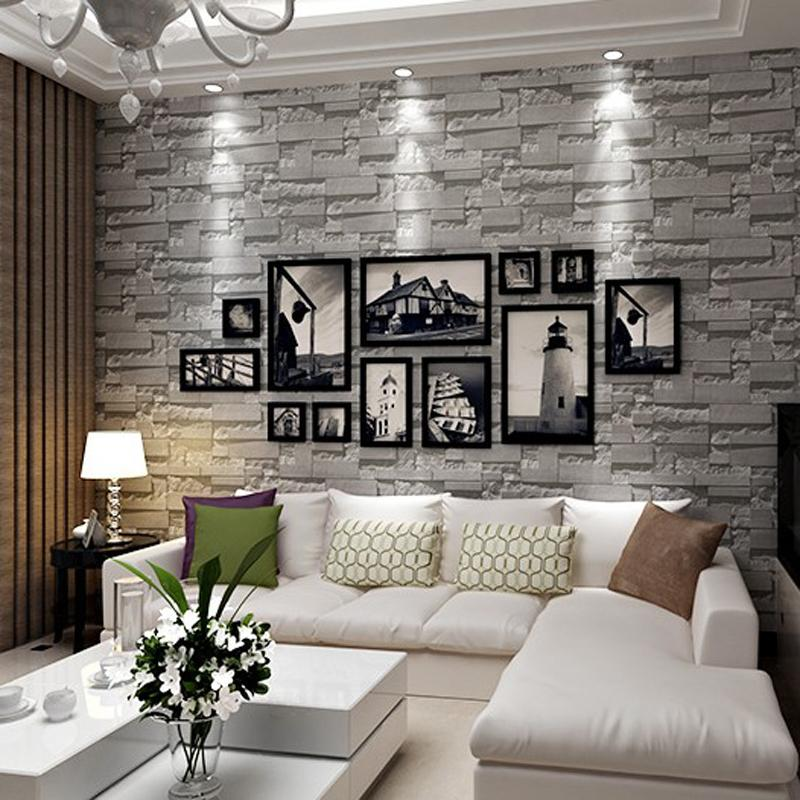 Feature 3d Fake Wall Stone Effect Wallpaper Decorating Ideas