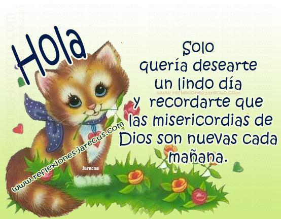 Hola... Solo quería desearte un lindo día y recordarte que las misericordias de Dios son nuevas cada mañana.