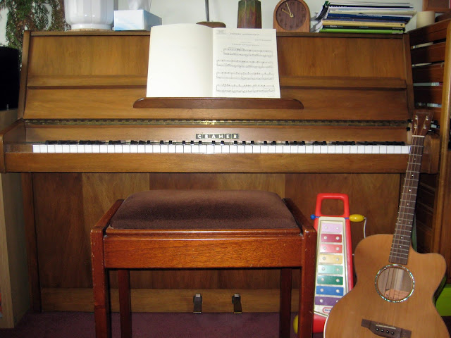 Piano, 'toy' xylophone and tenor guitar