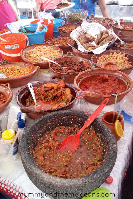 Breakfasts On The Go In Mexico - Pots Of Fillings For Gorditas