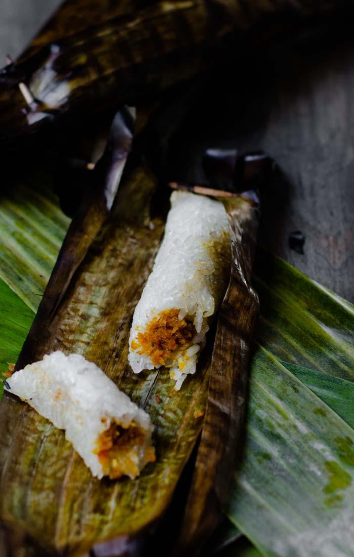 Malaysian finger food of savoury rice and sambal prawn
