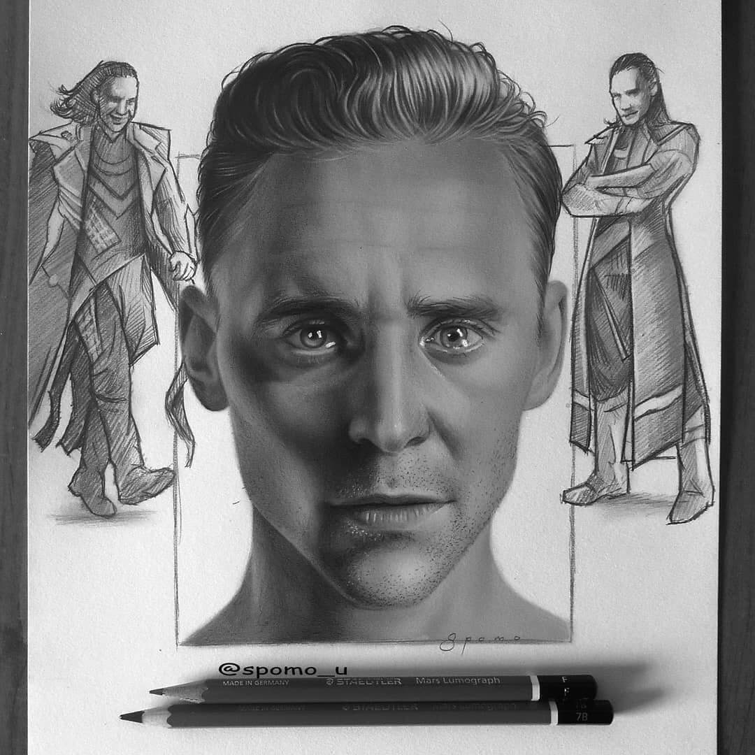 07-Tom-Hiddleston-Loki-Spomo-Ubiparipović-Black-and-White-Celebrity-Pencil-Portraits