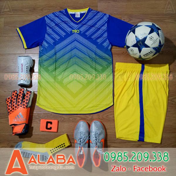 Áo bóng đá không logo màu vàng xanh đẹp