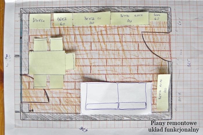 układ funkcjonalny dużego pokoju | remont dużego pokoju | levelupstudio