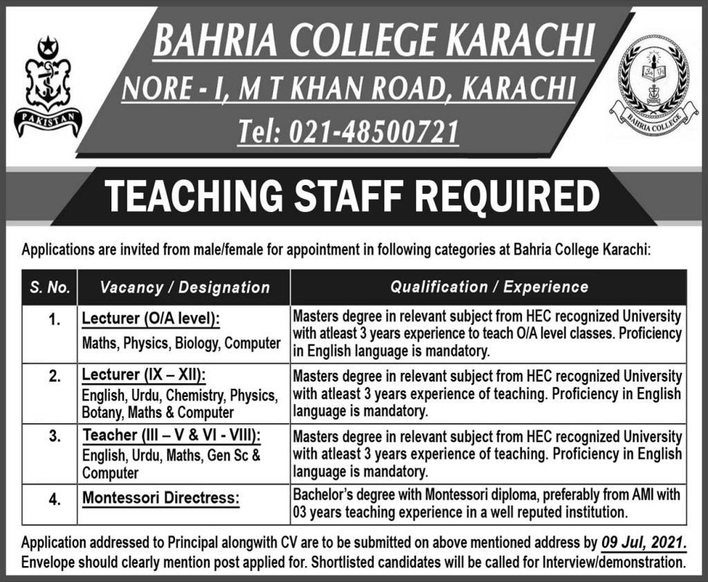 Bahria College Karachi Jobs 2021 in Pakistan