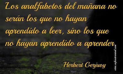 Los analfabetos del mañana no serán los que no hayan aprendido a leer, sino los que no hayan aprendido a aprender.   Herbert Gerjuoy