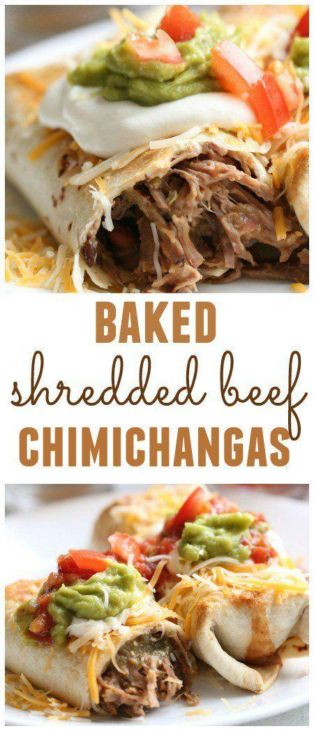 BAKED SHREDDED BEEF CHIMICHANGAS