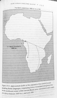 Page 395. Figure 19.4. Approximate paths of the expansion that carried people speaking Bantu languages, originating from a homeland (designated H) in the northwest corner of the current Bantu area, over eastern and southern Africa between 3000 B.C. and A.D. 500.
