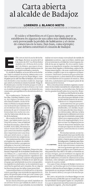 Carta abierta al Alcalde de Badajoz HOY Lorenzo Blanco Ruido Casco Antiguo
