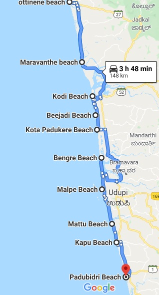 Udupi beaches map