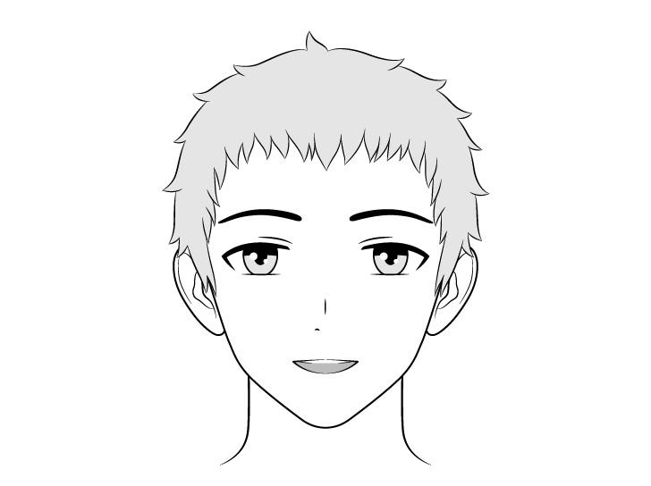 Pria ramah anime menggambar wajah terkejut