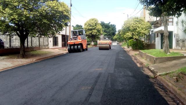 Asfaltan calles internas en la Chacra 9