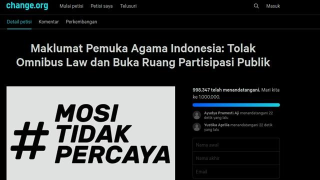 Petisi Pemuka Agama Tolak Omnibus Law Diteken Sejuta Orang