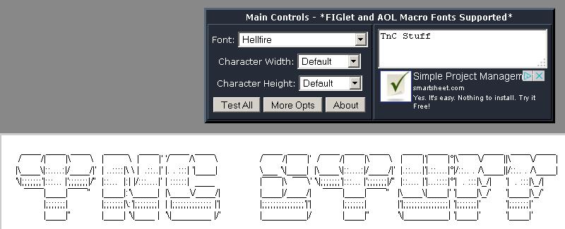 TnC Stuff: Some (MSX?) links: ASCII Art generators