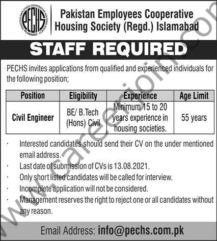 info@pechs.com.pk - Pakistan Employees Cooperative Housing Society Jobs 2021 in Pakistan