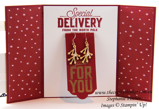 #cardmaking, #stampinup, #christmascard, earring holder card, gift card, Xmas, Christmas card, Santas Sleigh, #thecraftythinker, Stampin' Up Australia Demonstrator, Stephanie Fischer, Sydney NSW