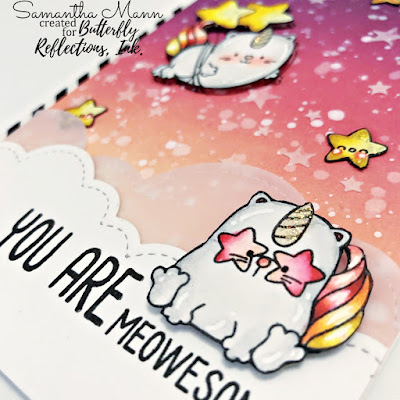 You Are Meow-some Card by Samantha Mann, Paperie Ink, Distress Inks, Ink Blending, Stencil, Echo Park, Die Cuts, Paper Crafting, Handmade Cards #paperieink #distressinks #brimoodboard #handmadecards #cardmaking