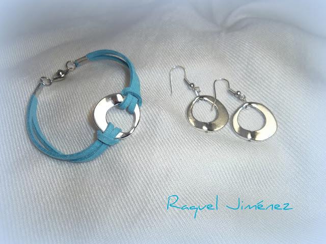 Pulsera y pendientes azul turquesa