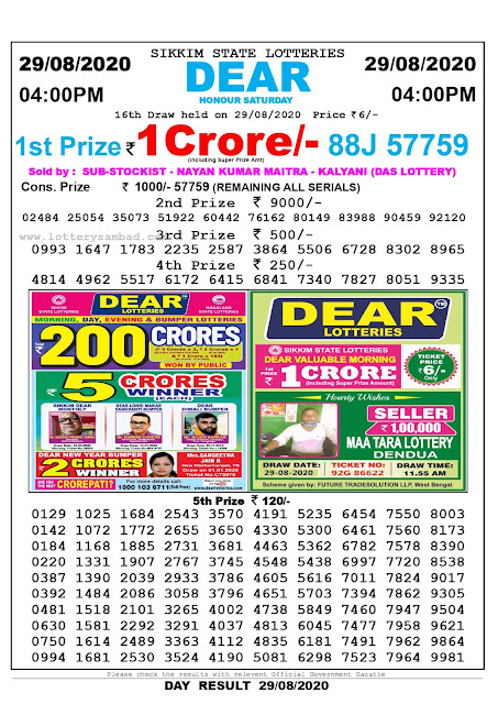 Lottery Sambad Result 29.08.2020 Dear Honour Saturday 4:00 pm