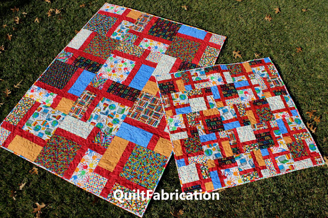 school fabrics made into two quilts