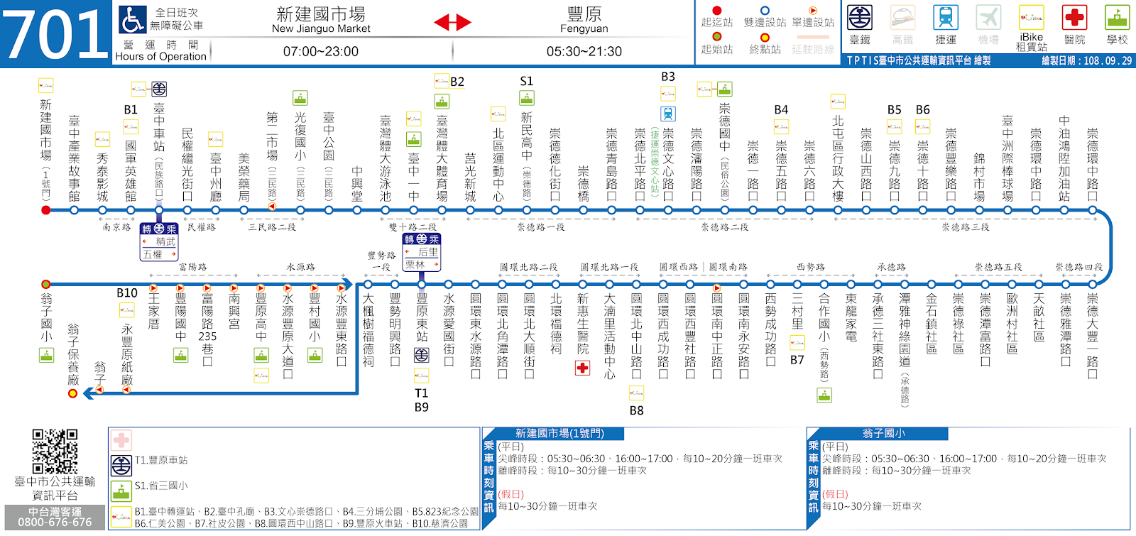 臺中市公共運輸資訊平臺: 701路 新建國市場-豐原東站