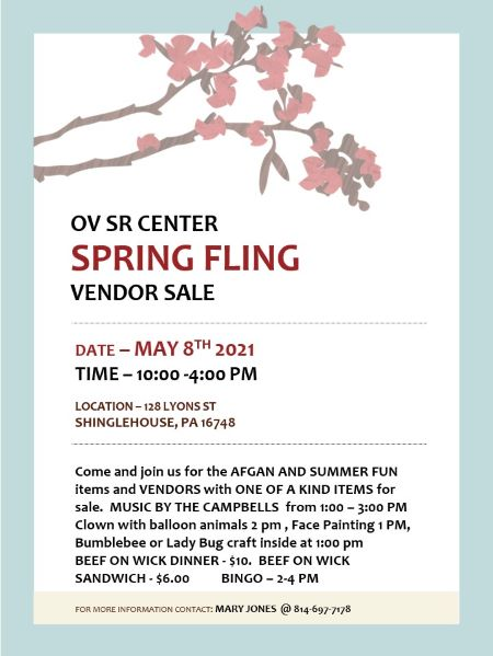 5-8 Oswayo Valley Senior Center Spring Fling Basket Raffle