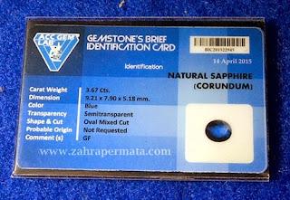 Batu Permata Royal Blue Safir + Memo - ZP 400