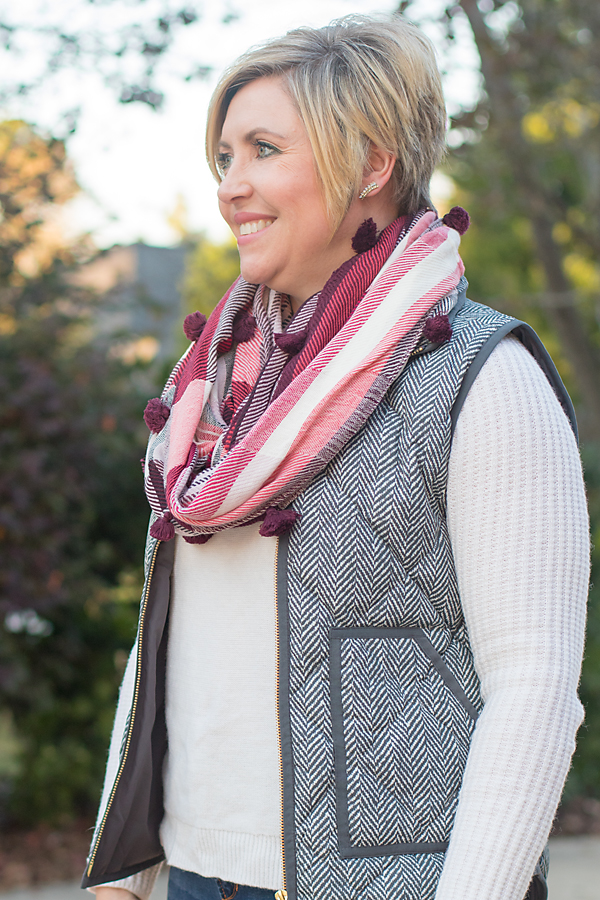 plaid scarf herringbone vest