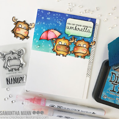 Under My Umbrella Card by Samantha Mann for Create a Smile Stamps, Cards, Card Making, Handmade Cards, Distress Inks, Ink Blending, #createasmile #createasmilestamps #distressinks #inkblending #cards #cardmaking