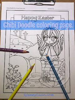 Chibi Doodle Christian Easter Coloring page