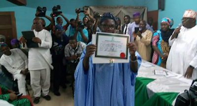 Image result for #OndoDecides: Akeredolu receives certificate of return