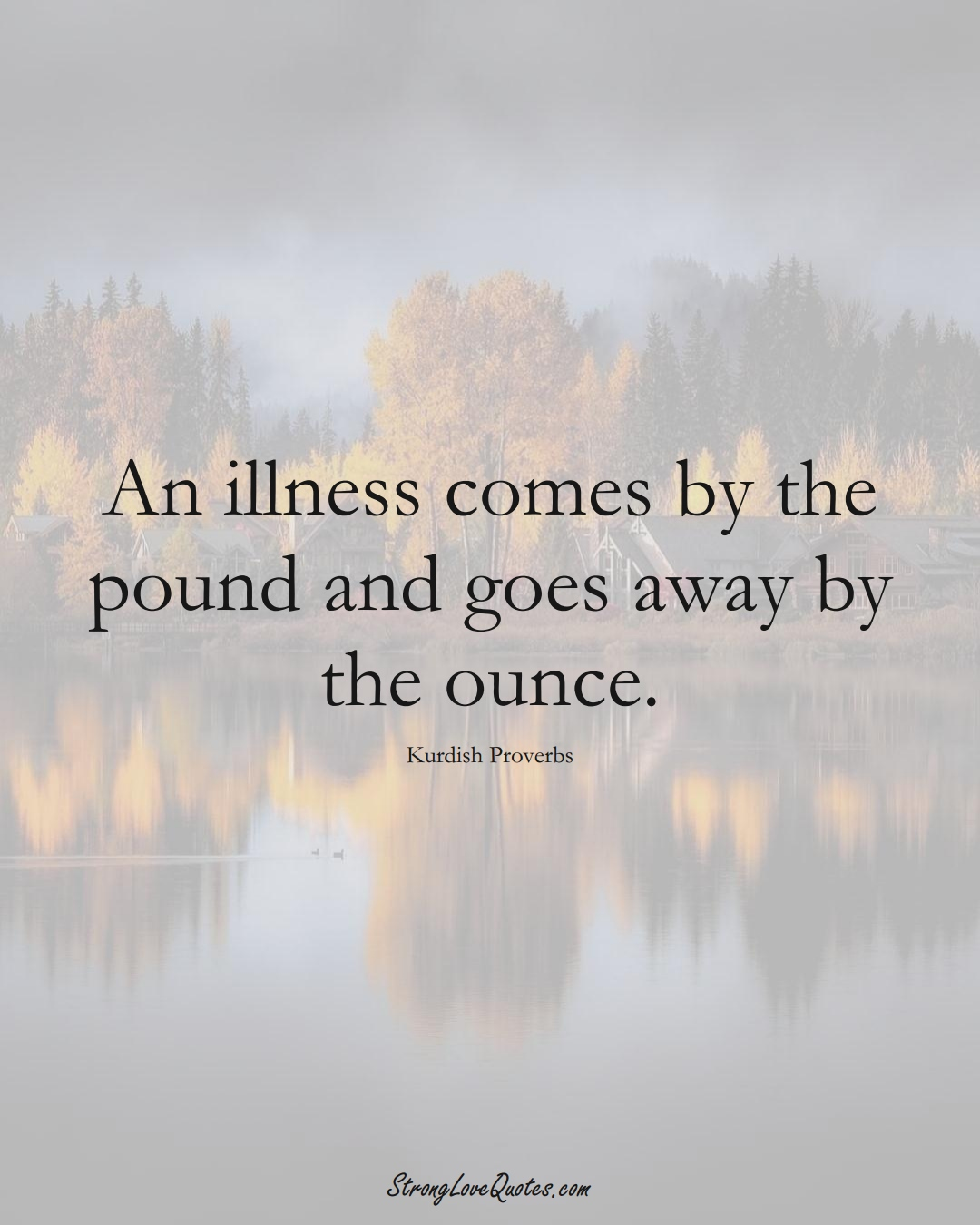An illness comes by the pound and goes away by the ounce. (Kurdish Sayings);  #aVarietyofCulturesSayings