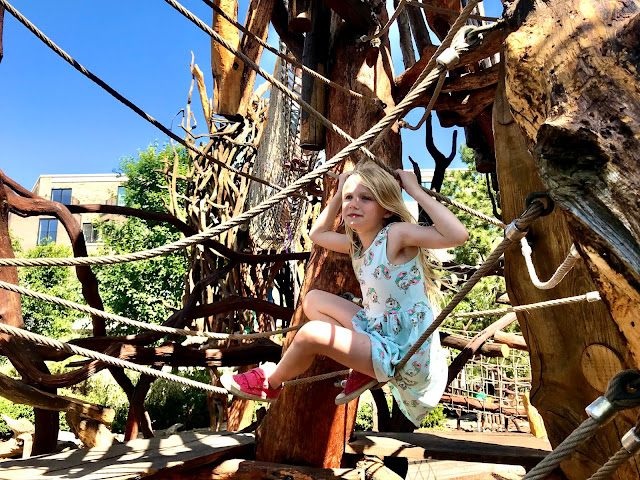 A great wooden treehouse structure as part of Tumbling Bay playground at the Olympic Park in Stratford