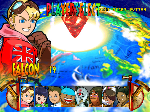 The character select screen featuring eight playable fighters.