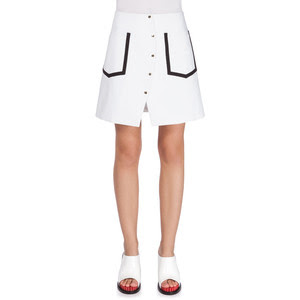 Kenzo Button Front A Line Skirt in White, $392 from Neiman Marcus